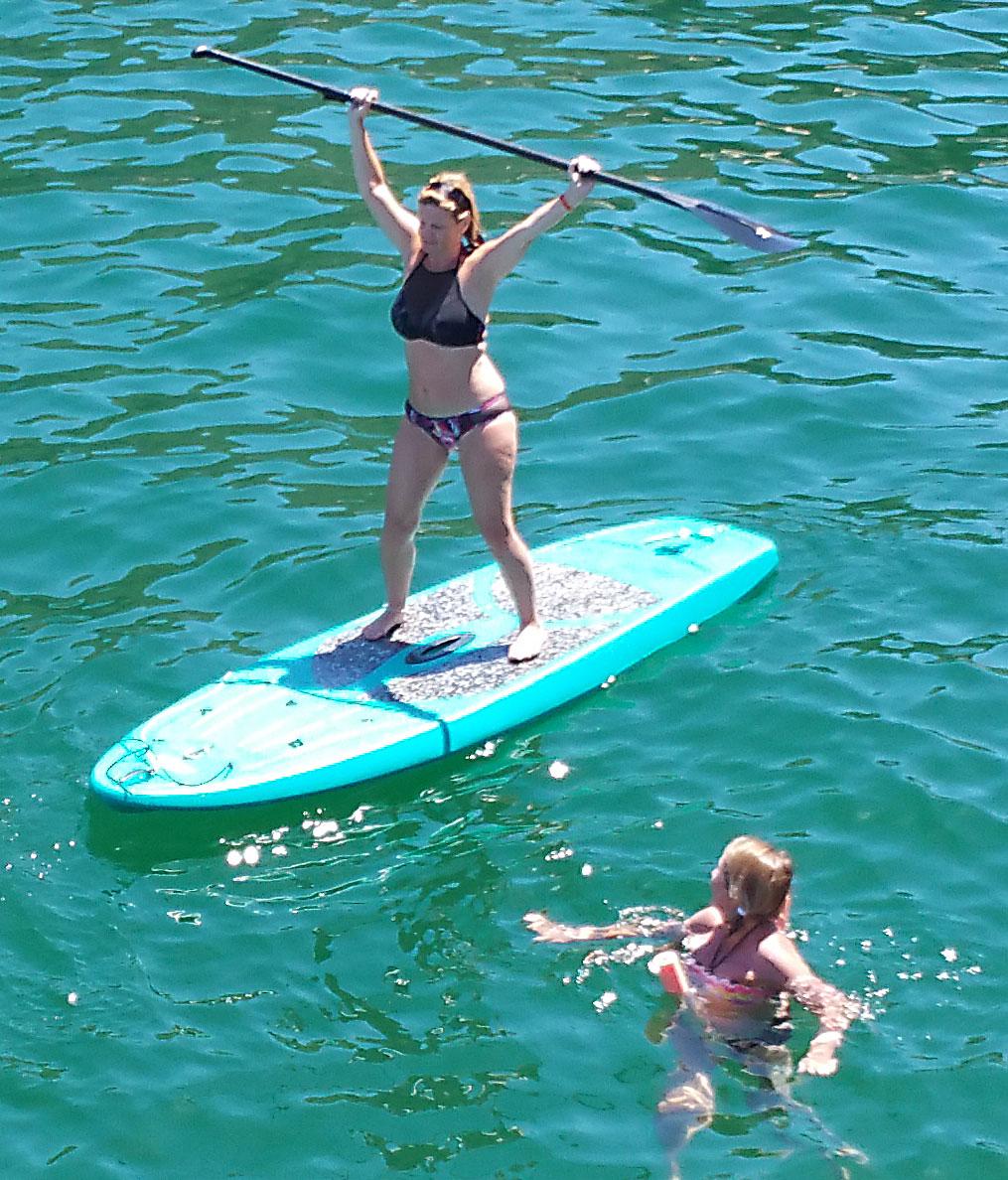 paddleboarding on the Aurora yacht