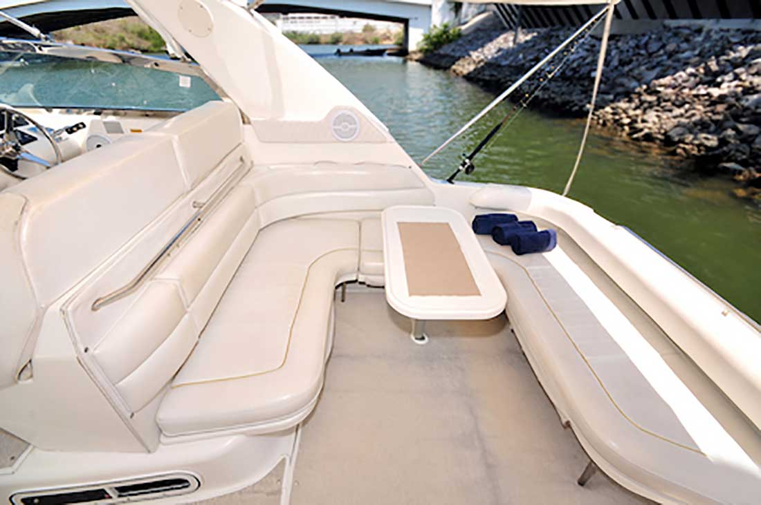37-ft.-SeaRay-Sundancer-Power-Yacht-Up-to-10-People-Main-Lounge-Seats-under-a-Bimini-shade
